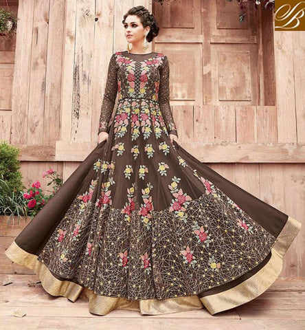 STYLISH BAZAAR Shop chocolate brown Zoya engaged reception & party women desi gown suit PFENG21004