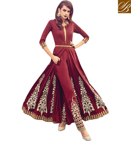 STYLISH BAZAAR RECEPTION AND WEDDING SPECIAL RED MID SLIT PLAZZO SALWAAR ZOYA INDOWESTERN TRENDY OUTFITS PFFUS19003