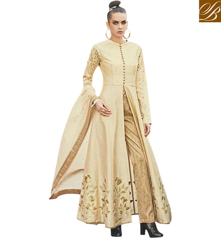 STYLISH BAZAAR BUY NEW CREAM ZOYA DIVA WEDDING WEAR LATEST UNIQUELY DESIGNED SALWAR SUIT SETS PFFUS19004'