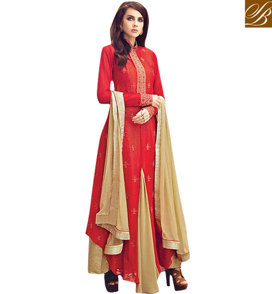 STYLISH BAZAAR SHOP NEW ZOYA BEAUTIFUL RED EMBROIDERED INDOWESTERN DESIGNER DRESS FOR PARTIES AND WEDDINGS PFFUS19005