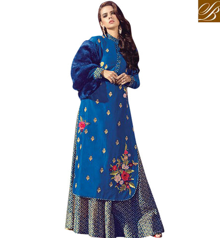STYLISH BAZAAR LATEST ZOYA INDO WESTERN BLUE FUSION DESIGN DRESS ESPECIALLY FOR WEDDING AND FESTIVALS PFFUS19006