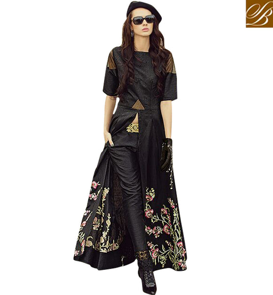 ZOYA FUSION SPECIAL BLACK EMBROIDERED DESIGNER SALWAAR KAMEEZ FOR INDIAN BIG FAT WEDDINGS PFFUS19007