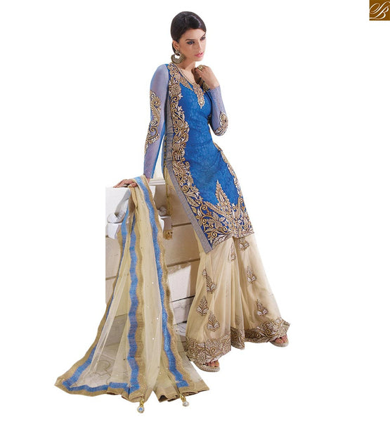 Designer Zoya Dresses Fabulous Blue And Golden Russel Net with Plazzo and Sharara PFGL12006