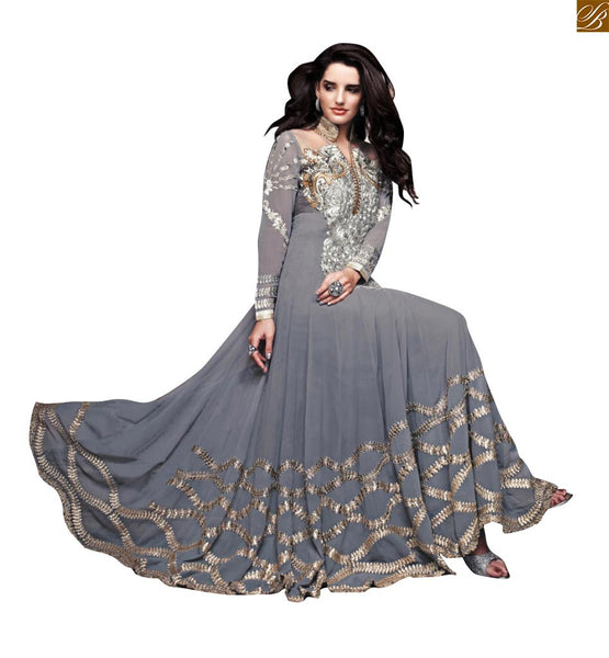 ZOYA SAPPHIRE GORGEOUS GREY FLOOR LENGTH WEDDING ANARKALI DRESS PFSAP11003