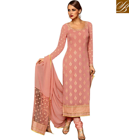 STYLISH BAZAAR INVITING PEACH GEORGETTE DESIGNER STRAIGHT CUT SALWAR KAMEEZ HAVING MATCHING DUPATTA SLETS186