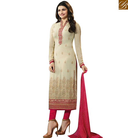 STYLISH BAZAAR BOLLYWOOD CELEBRITY PRACHI DESAI CREAM GEORGETTE STRAIGHT CUT SALWAR KAMEEZ VNPD45064