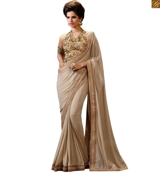 RICH CREAM COLORED DESIGNER SAREE FOR PARTY WEAR COLLECTION FROM STYLISH BAZAAR RTHYC9401