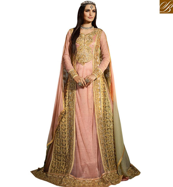STYLISH ABZAAR DAZZLING ANARKALI STYLE PINK COLORED SALWAR KAMEEZ SLSY41