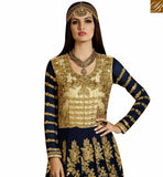 FROM STYLISH BAZAAR EYE CATCHING ANARKALI STYLE DESIGNER SUIT WITH GLITTERY BORDER WORK SLSY42