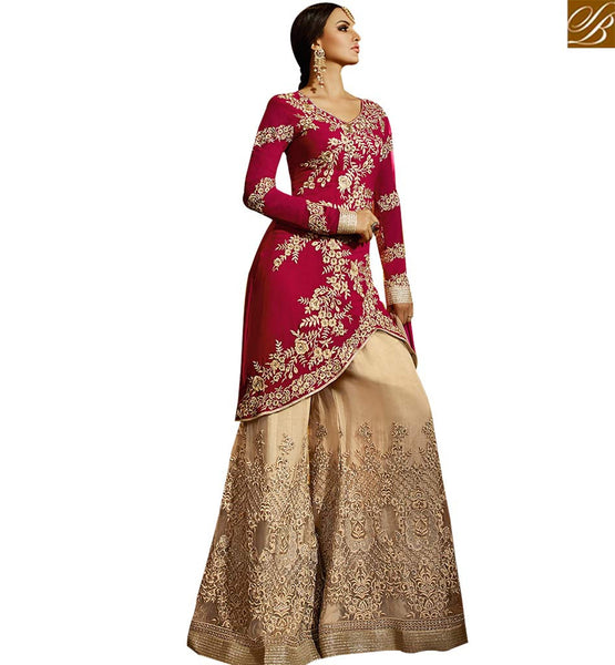 STYLISH BAZAAR BEAUTIFUL PINK COLORED PLAZZO STYLE DESIGNER SUIT SLSY43