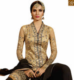 A STYLISH BAZAAR PRESENTATION RICH LOOKING BLACK & BEIGE COLORED PLAZZO STYLE DESIGNER SUIT SLSY45