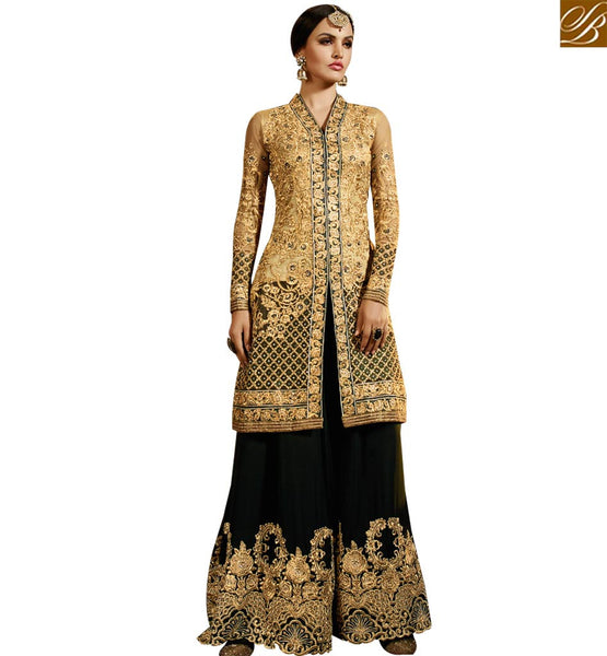 STYLISH BAZAAR RICH LOOKING BLACK & BEIGE COLORED PLAZZO STYLE DESIGNER SUIT SLSY45