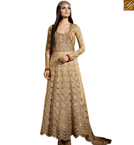 STYLISH BAZARA ATTRACTIVE BEIGE COLORED ANARKALI STYLE DESIGNERS SALWAR SUIT SLSY46