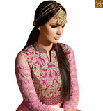 STYLISH BAZAAR INTRODUCES STRIKING PINK COLORED ANARKALI SUIT WITH GLITTERING BORDER WORK SLSY47