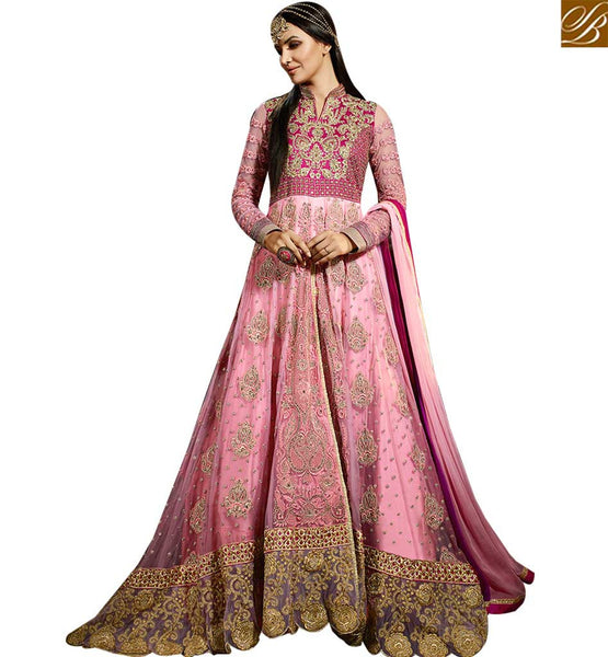 STYLISH BAZAAR STRIKING PINK COLORED ANARKALI SUIT WITH GLITTERING BORDER WORK SLSY47