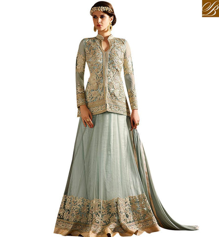 STYLISH BAZAAR SUPERB SEA BLUE NET DESIGNER SUIT HAVING APPRECIATING EMBROIDERY WITH LEHENGA STYLE SLSY62