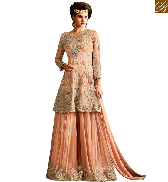 STYLISH BAZAAR BEAUTIFUL PEACH NET DESIGNER DRESS CONTAIN GORGEOUS EMBROIDERY WITH AMAZING DECORATED PLAZZO SLSY63