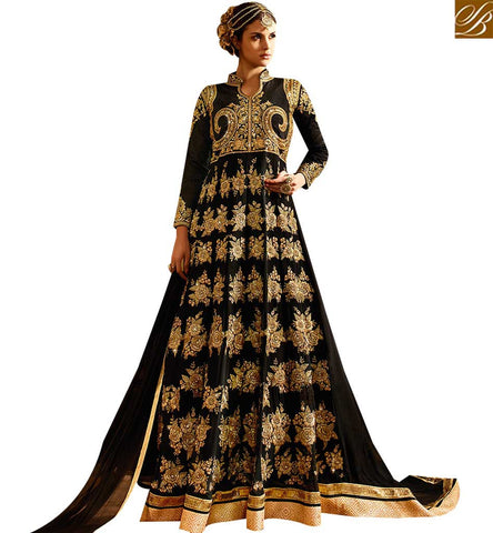 STYLISH BAZAAR WONDERFUL BLACK GEORGETTE DESIGNER ANARKALI SALWAR KAMEEZ HAVING PLEASANT WORK SLSY64
