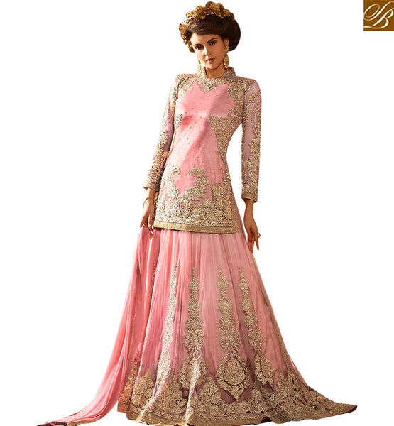 STYLISH BAZAAR DELIGHTFUL PINK NET DESIGNER LEHENGA CHOLI SUIT HAVING WONDERFUL EMBROIDERY WITH STONE WORK SLSY65