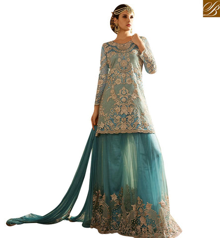 STYLISH BAZAAR APPRECIATING SEA BLUE NET DESIGNER SALWAR KAMEEZ CONTAIN HEAVY EMBROIDERY WITH PLAZZO STYLE SLSY66
