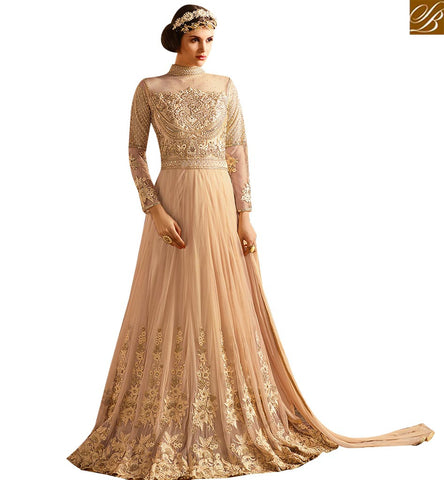 STYLISH BAZAAR GORGEOUS CREAM NET DESIGNER ANARKALI SALWAR KAMEEZ HAVING MARVELLOUS EMBROIDERY WITH CLOSE NECK SLSY67