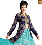 NAVY BLUE GEORGETTE LONG JACKET WITH RAMA SHADE NET JACQUARD LENGHA AND DUAL COLOR CHIFFON DUPATTA BE AT YOUR BEST WEARING THIS EXCITING LEHENGA-LONG CHOLI COMBINATION DRESS ENHANCED WITH HEAVY ZARI, RESHAM EMBROIDERY WITH STONEWORK AND LACE BORDER