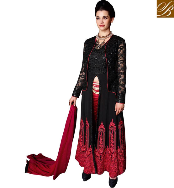 EXCITING WEDDING WEAR DRESS AT AFFORDABLE PRICE   BEWITCHING BLACK DRESS WITH CONTRAST RED SALWAR AND STUNNING SHADED