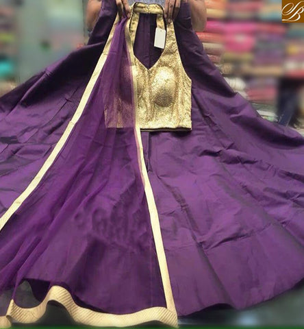 STYLISH BAZAAR PRESENTATION ETHNIC PURPLE COLOR TAPTA SILK EMBEDDEB LEHENGHA WITH BEIGE COLOR CHOLI ALSO DUPATTA PURPLE COLOR LACE BORDER WORK SB012