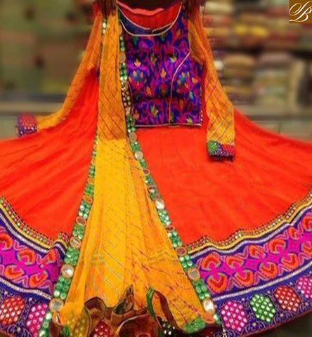 STYLISH BAZAAR ATTRACTIVE ORANGE COLOR NAVRATRI CHANIYA CHOLI SORF GEORGETTE EMBROIDERY DESIGNER CHOLI WITH DUPATTA YELLOW COLOR NET SB014