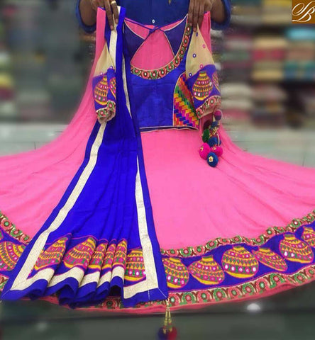STYLISH BAZAAR PRETTY PINK COLOR NAVRATRI CHANIYA CHOLI MORE LEHENGHA STYLE LOOK GEORGETTE DESIGNER EMBROIDERY WORK WITH DUPATTA BLUE COLOR LACE BORDER SB019