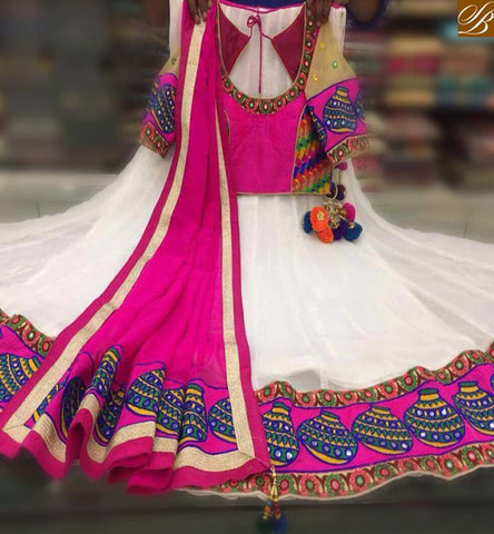 STYLISH BAZAAR MARVELOUS OFF WHITE AND PINK LEHENGHA CHOLI SOFT GEORGETTE EMBROIDERY ALSO LACE BORDER ALSO DUPATTA PINK COLOR SB021
