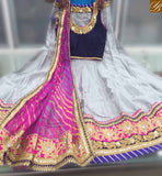 STYLISH BAZAAR ELEGANT GREY LEHENGHA WITH BLUE CHOLI TAPATA SILK HEAVY DESIGNER EMBROIDERY WITH DUPATTA PINK COLOR SB022