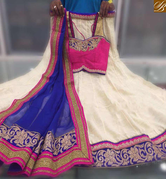 STYLISH BAZAAR STUNNING HEAVY CREAM AND PINK CHANDERI SILK DESIGNER LEHENGHA CHOLI WITH HEAVY EMBROIDERY WITH DUPATTA BLUE COLOR SB023
