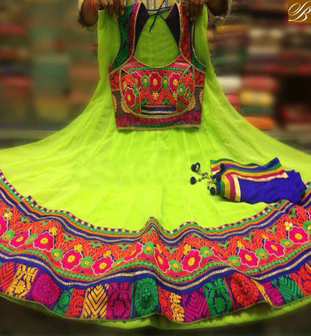 STYLISH BAZAAR ATTRACTIVE LIGHT GREEN LEHENGHA DESIGNER SOFT GEORGETTE FLOWER EMBROIDERY CHOLI WITH DUPATTA BLUE COLOR SB024