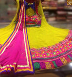 STYLISH BAZAAR AMAZING YELLOW COLOR LEHENGHA DESIGNER SOFT GEORGETTE FLOWER EMBROIDERY CHOLI ALSO DUPATTA PINK COLOR SB026