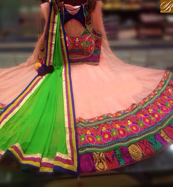 STYLISH BAZAAR BEAUTIFUL LOOKING LEHENGHA PEACH COLOR HAVING SOFT GEORGETTE FLOWER EMBROIDERY CHOLI WITH DUPATTA GREEN COLOR SB027