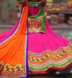 STYLISH BAZAAR TRADITIONAL PINK COLOUR GEORGETTE CHANIA HAVING ETHNIC EMBROIDERY IN BORDER WITH GREEN EMBROIDERED BLOUSE AND ORANGE DUPPTTA SB02