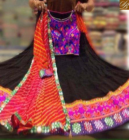 STYLISH BAZAAR GAMTHI BLACK GEORGETTE EMBROIDERED LEHENGA HAVING MULTI COLORED CHOLI AND LEHRIA DUPPTTA SB04
