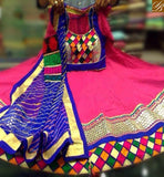 STYLISH BAZAAR CLASSY PINK COLOURED LEHNGA CHOLI WITH BORDER WORK HAVING BLUE BODERED LEHRIA DUPPTTA SB05
