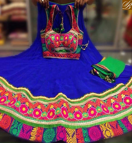 STYLISH BAZAAR NAVRATRI SPECIAL BLUE GEORGETTE EMBROIDERED BORDER LAHENGA WITH HEAVILY  WORKED CHOLI AND GREEN DUPPTTA SB06