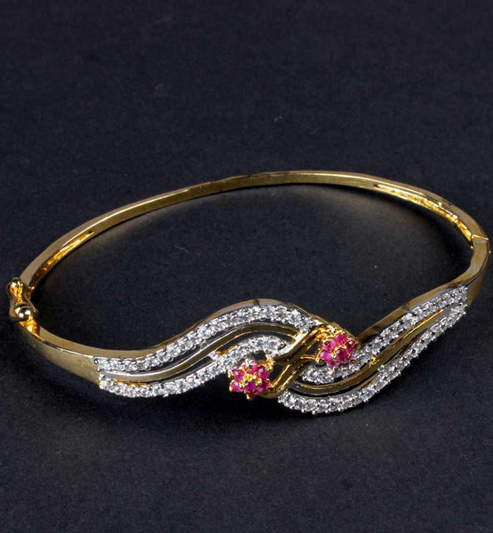 New Design bangle with pink stones and american diamonds