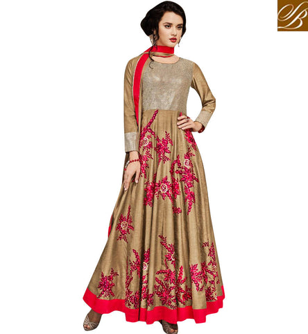 Buy designer beige gown for women online latest party wear outfir 2017 SJW731