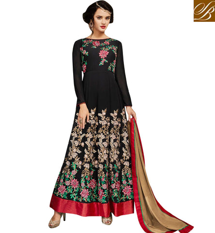 STYLISH BAZAAR Buy black designer indowestern heavily embroidered ladies gown online SJW733