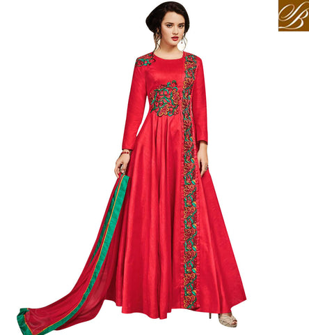 Indowestern red gown latest collection wedding outfit for women 2017 SJW734