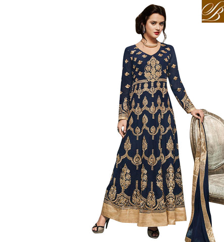 Shop dark blue designer heavily embroidered gown online trendy outfits SJW735