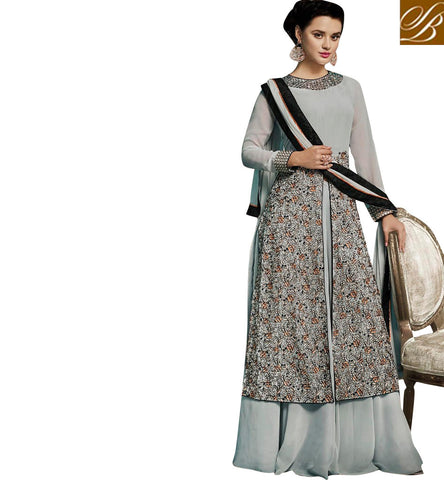 Light grey designer heavy kameez with slit design & lehenga eid dress SJW736