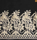 This black color palazzo floral embroidered worked made of cotton and starchy elastic waist