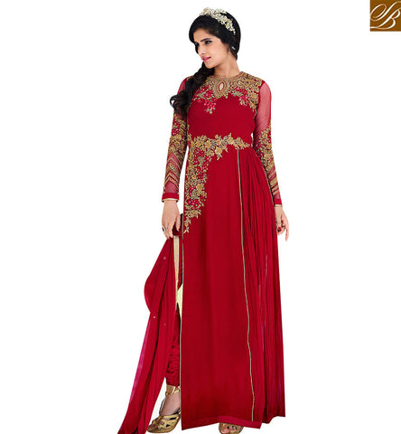 STYLISH BAZAAR MAROON ROYAL GEORGETTE EMBROIDERED DESIGNER SALWAR KAMEEZ HAVING SLIT FROM THE SIDE SLAFN10001