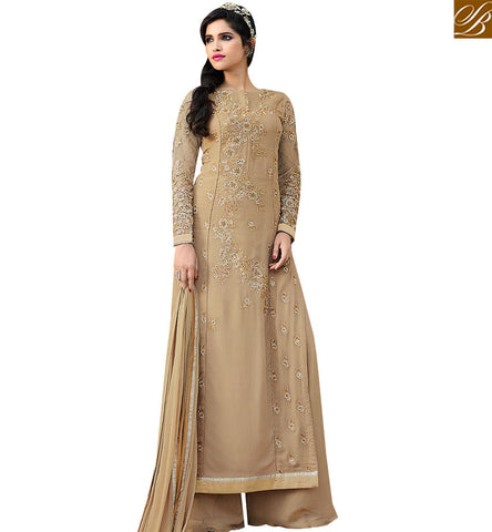 STYLISH BAZAAR WEAR BEIGE INDIAN TRADITIONAL DESIGNER SALWAR KAMEEZ WITH EMBROIDERY AND PLAZZO STYLE SLAFN10002