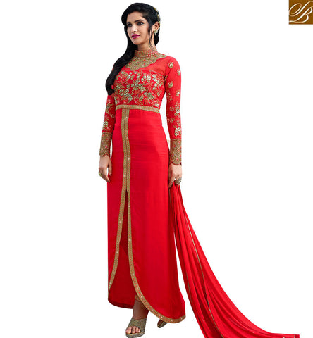 STYLISH BAZAAR SHOP ONLINE RED GEORGETTE WELL EMBROIDERED DESIGNER DRESS WITH STYLISH PATCHED NECK SLAFN10004